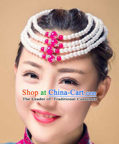 Chinese Traditional Folk Dance Hair Accessories, Mongolian Minority Bride Beads Hair Jewelry Dance Headband for Women