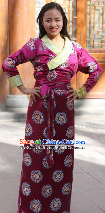 Chinese Traditional Purple Tibetan Dress Minority Costume Zang Nationality Clothing for Women
