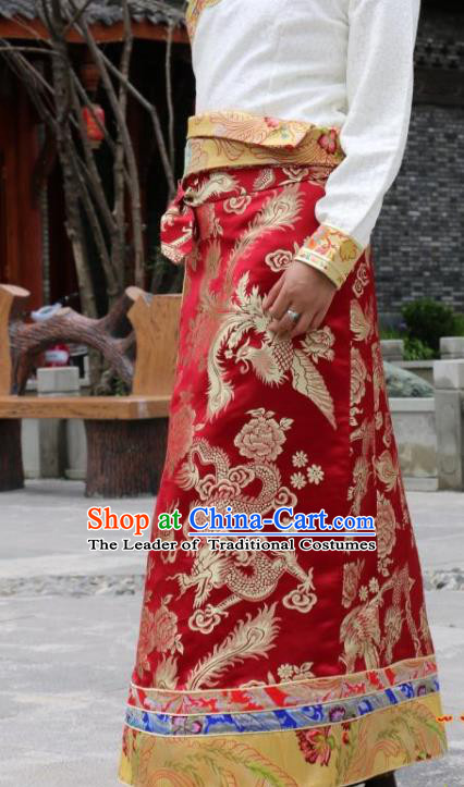 Chinese Traditional Tibetan Red Skirt Minority Costume Zang Nationality Clothing for Women