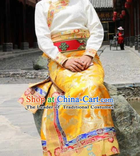 Chinese Traditional Tibetan Yellow Skirt Minority Costume Zang Nationality Clothing for Women