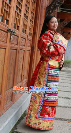 Chinese Traditional Red Wedding Tibetan Robe Minority Costume Zang Nationality Clothing for Women