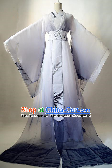 Chinese Han Dynasty Royal Highness Hanfu Ancient Swordsman Printing Bamboo Clothing for Men