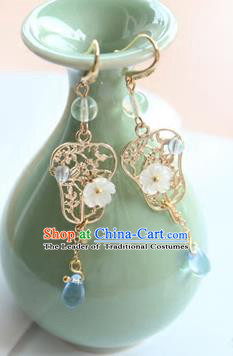 Chinese Ancient Handmade Earrings Accessories Hanfu Golden Banana Leaf Eardrop for Women