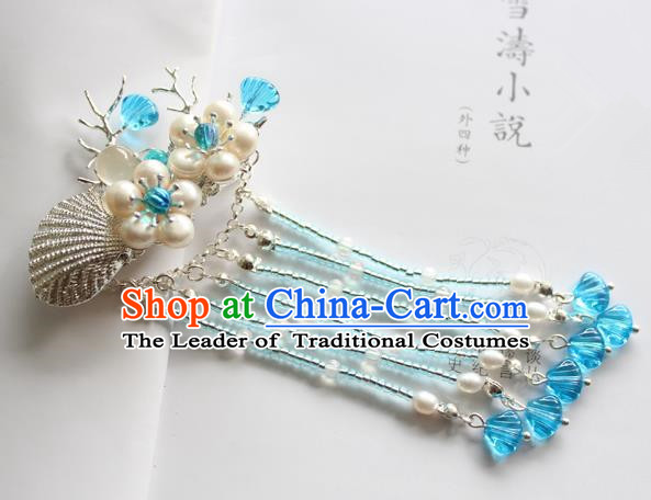 Chinese Ancient Handmade Pearls Tassel Hair Claw Hair Accessories Hanfu Hairpins for Women