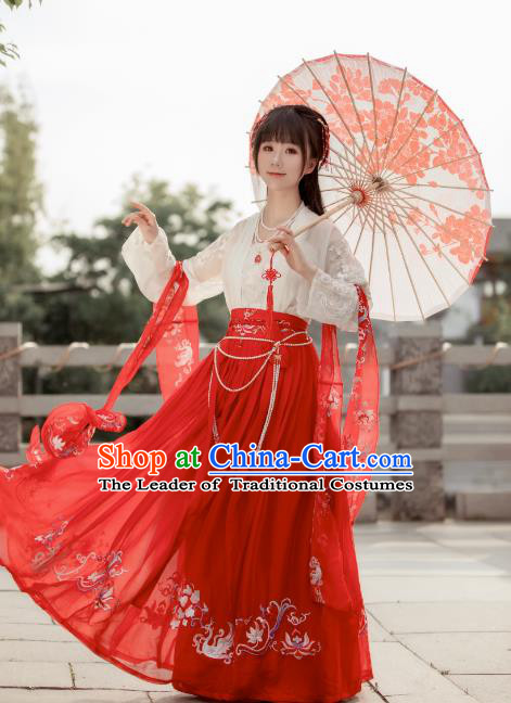 Chinese Traditional Song Dynasty Palace Lady Costume Ancient Princess Embroidered Clothing for Women