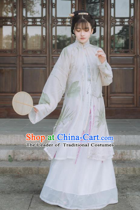 Chinese Traditional Song Dynasty Palace Lady Costumes Ancient Princess Embroidered Clothing for Women