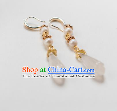 Chinese Ancient Handmade Jewelry Accessories Hanfu Magnolia Earrings for Women