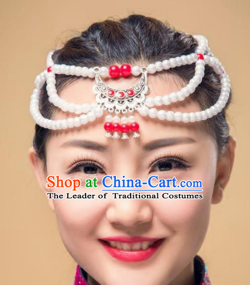 Chinese Traditional Folk Dance Pearls Hair Accessories, Mongolian Minority Dance Headwear for Women