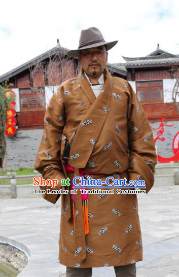 Chinese Traditional Tibetan Minority Wedding Costume Zang Nationality Brown Brocade Tibetan Robe for Men