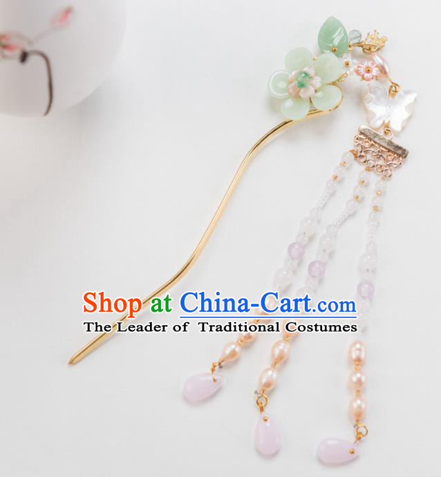 Chinese Ancient Handmade Hair Accessories Hanfu Tassel Hair Clips for Women