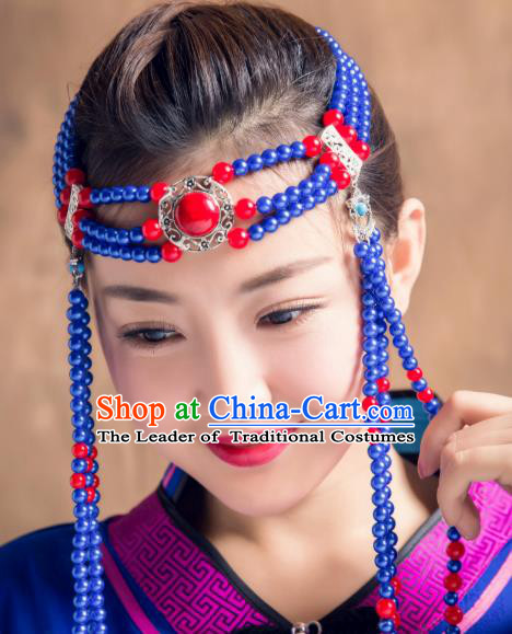 Chinese Traditional Ethnic Folk Dance Tassel Hair Accessories Royalblue Beads Hair Clasp, Mongolian Minority Dance Headwear for Women