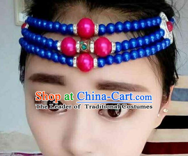 Chinese Traditional Ethnic Folk Dance Hair Accessories Blue Beads Hair Clasp, Mongolian Minority Dance Headwear for Women