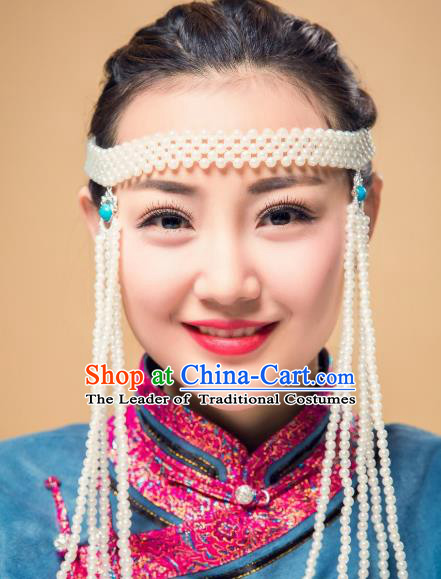 Chinese Traditional Ethnic White Beads Tassel Hair Accessories, Mongolian Minority Folk Dance Headwear for Women