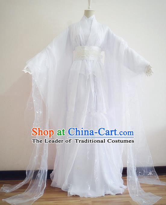 Chinese Traditional Han Dynasty Swordswoman White Hanfu Dress Ancient Fairy Clothing for Women