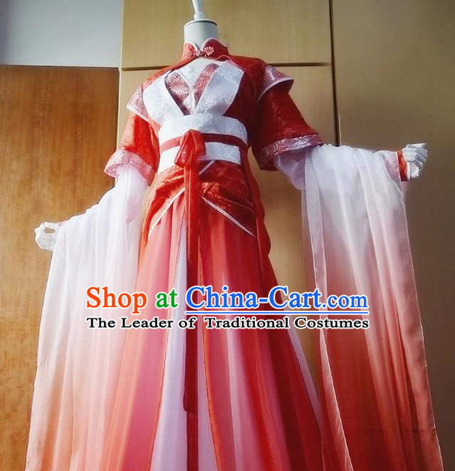Chinese Traditional Han Dynasty Swordswoman Red Hanfu Dress Ancient Fairy Clothing for Women