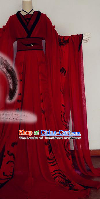 Chinese Han Dynasty Imperial Consort Red Hanfu Dress Ancient Fairy Traditional Costume for Women