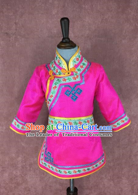 Chinese Traditional Ethnic Costume Children Rosy Mongolian Robe, China Mongolian Minority Folk Dance Clothing for Kids