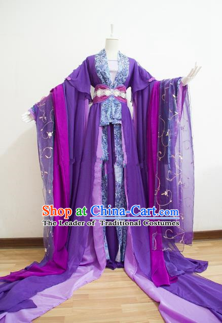 Chinese Han Dynasty Princess Purple Hanfu Dress Ancient Fairy Traditional Costume for Women