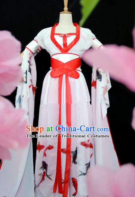 Chinese Song Dynasty Princess Printing Fishes Hanfu Dress Ancient Fairy Traditional Costume for Women