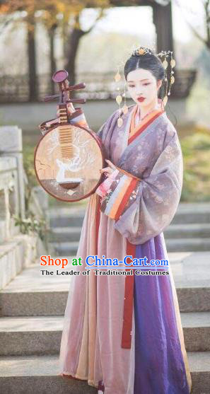 Chinese Ancient Geisha Costumes Traditional Jin Dynasty Palace Lady Embroidered Hanfu Dress for Women