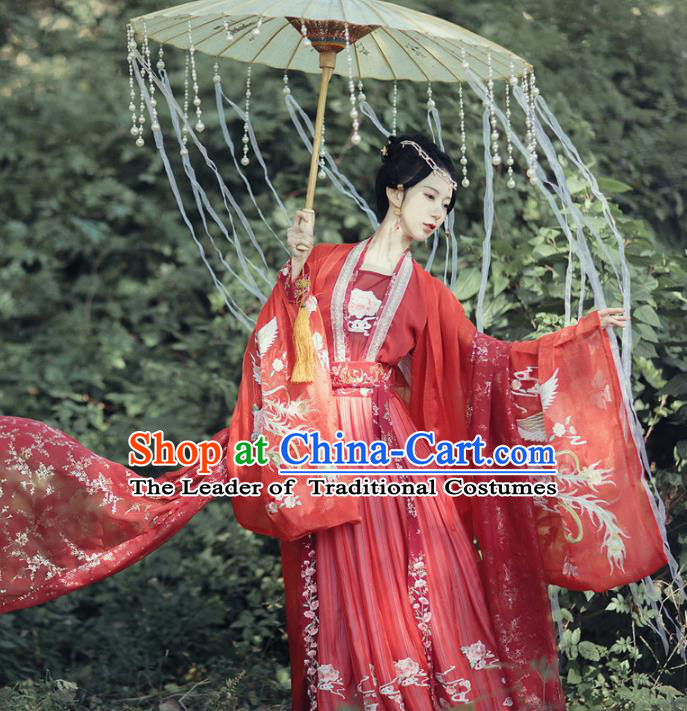 Chinese Ancient Palace Princess Costumes Traditional Han Dynasty Bride Wedding Embroidered Hanfu Dress for Women