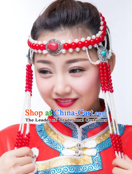 Traditional Chinese Folk Dance Red Beads Tassel Hair Accessories, Mongolian Minority Hair Jewelry Dance Headwear for Women