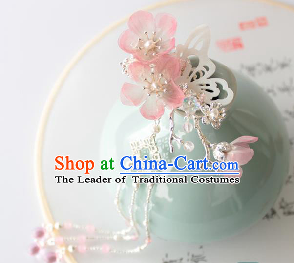 Chinese Ancient Handmade Palace Pink Flowers Hair Clip Hair Accessories Hanfu Shell Butterfly Hairpins for Women