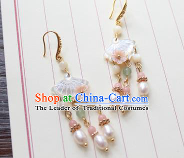 Chinese Ancient Handmade Shell Pearls Earrings Accessories Hanfu Eardrop for Women