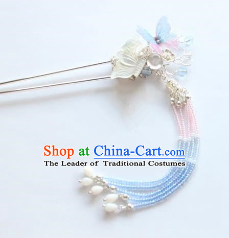 Chinese Ancient Handmade Shell Butterfly Hair Clip Hair Accessories Hanfu Tassel Hairpins for Women