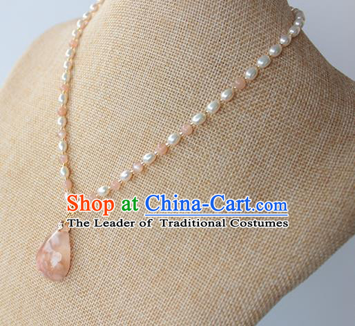 Chinese Ancient Handmade Necklace Accessories Hanfu Pearls Necklet for Women