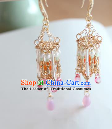 Chinese Ancient Handmade Palace Lantern Earrings Accessories Hanfu Eardrop for Women