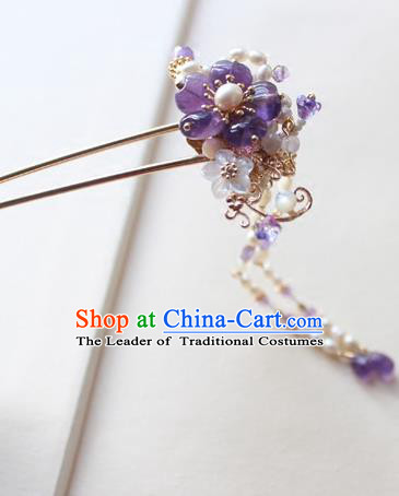 Chinese Ancient Handmade Purple Flower Hair Clip Hair Accessories Hanfu Hairpins for Women