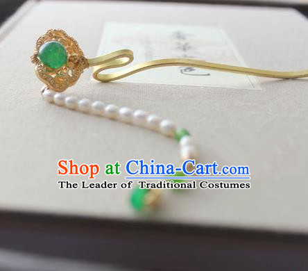 Chinese Ancient Handmade Green Ruyi Hair Clip Hair Accessories Hanfu Hairpins for Women