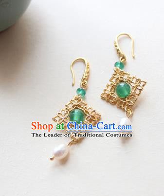 Chinese Ancient Handmade Hanfu Brass Earrings Accessories Eardrop for Women