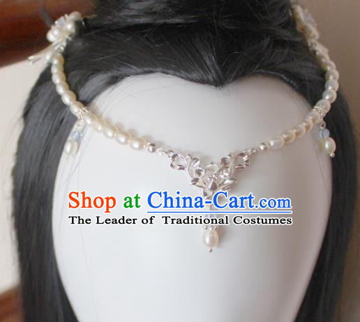 Chinese Ancient Handmade Pearls Hair Clasp Hair Accessories Hanfu Frontlet Hairpins for Women