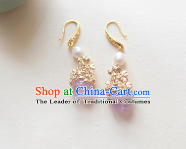 Chinese Ancient Handmade Hanfu Purple Crystal Earrings Accessories Eardrop for Women