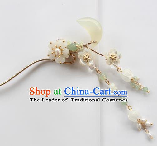 Chinese Ancient Handmade Hair Clip Hair Accessories Hanfu Moon Tassel Hairpins for Women