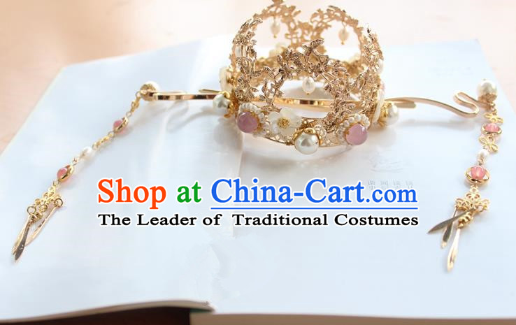 Chinese Ancient Handmade Phoenix Coronet Hair Accessories Hanfu Tassel Hairpins for Women