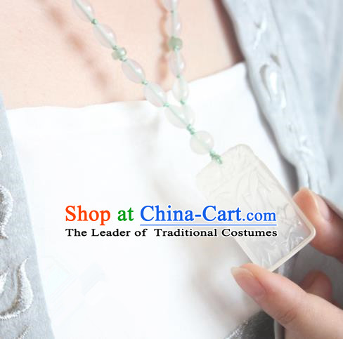 Chinese Ancient Handmade Hanfu Accessories Carving Bamboo Jade Necklace for Women