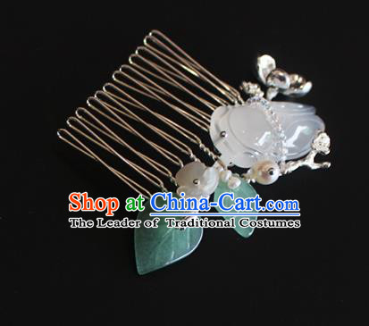 Chinese Ancient Handmade Classical Jade Cicada Hair Comb Hair Accessories Hanfu Hairpins for Women