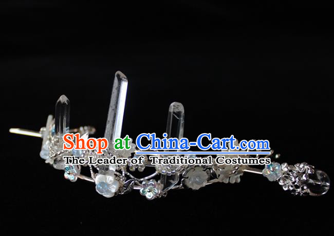 Chinese Ancient Handmade Classical Crystal Hair Crown Hair Accessories Hanfu Hairpins for Women