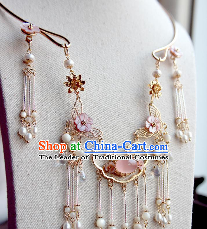 Chinese Ancient Handmade Hanfu Accessories Pink Shell Necklace for Women