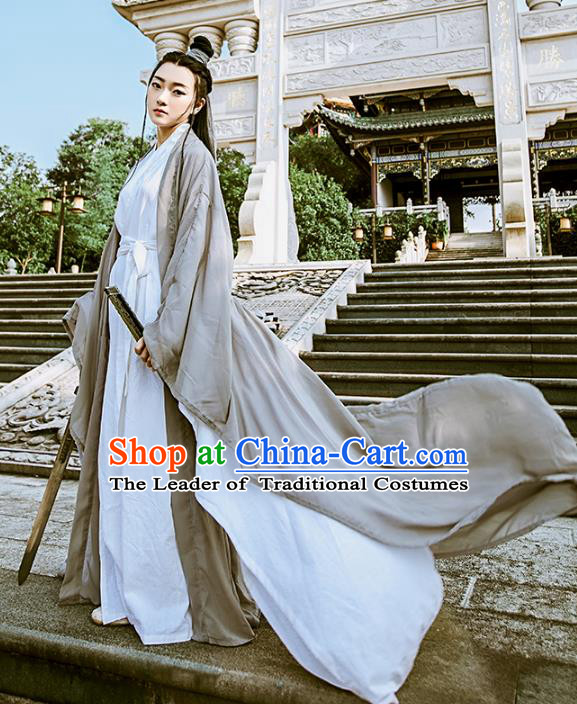 Chinese Ancient Swordswoman Costumes Jin Dynasty Chivalrous Women Hanfu Dress Clothing