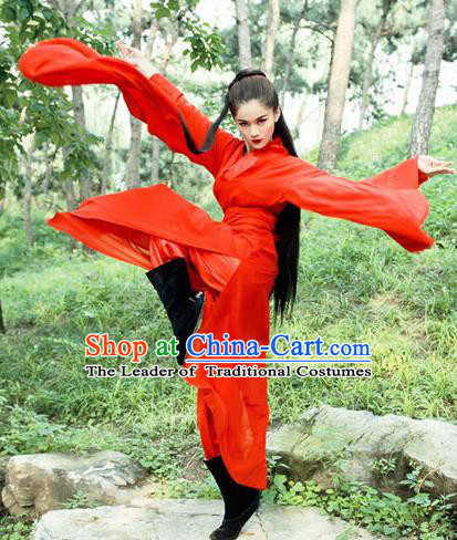 Chinese Ancient Swordswoman Red Hanfu Dress Jin Dynasty Chivalrous Women Costumes