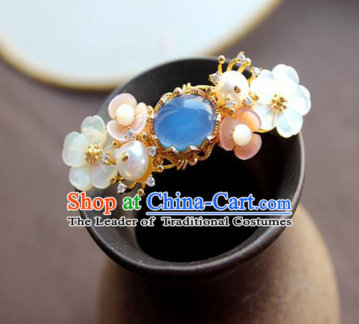Chinese Ancient Handmade Classical Blue Chalcedony Hair Claw Hair Accessories Hanfu Hairpins for Women