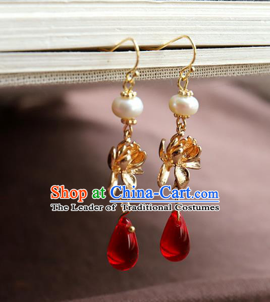 Chinese Ancient Handmade Classical Earrings Accessories Hanfu Red Eardrop for Women