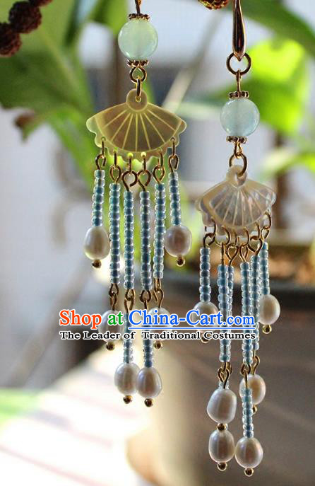 Chinese Ancient Handmade Classical Shell Earrings Accessories Hanfu Pearls Tassel Eardrop for Women