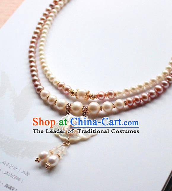 Chinese Ancient Handmade Classical Shell Lotus Necklace Accessories Hanfu Necklet for Women