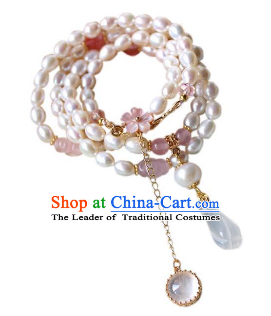 Chinese Ancient Handmade Classical Conophytum Pucillum Accessories Hanfu Necklace for Women