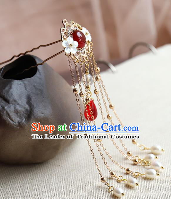 Chinese Ancient Handmade Classical Red Crystal Hair Clip Hair Accessories Pearls Tassel Step Shake Hanfu Hairpins for Women